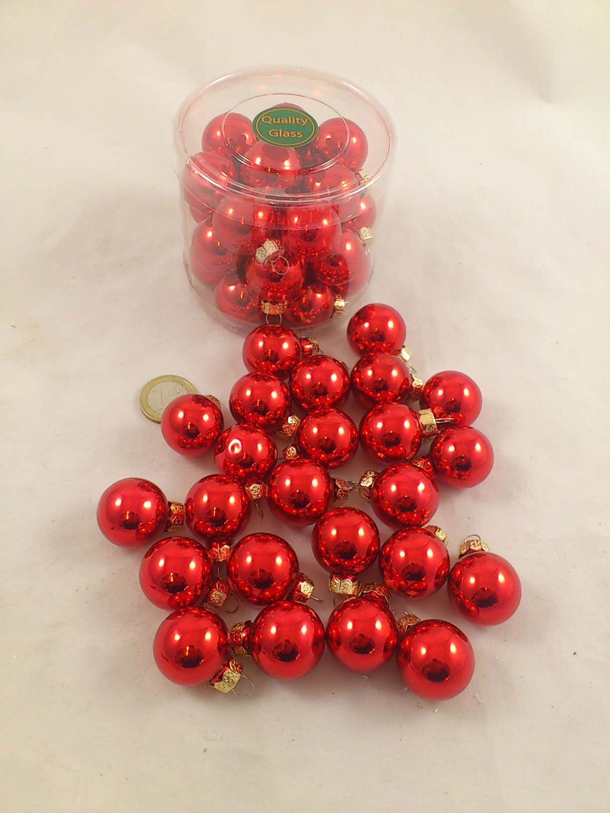 Christmas balls in glass 25 mm 24 pcs. red shiny