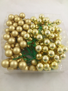 Christmas balls in glass on wire 20 mm 144 pcs. gold combi