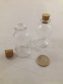 Table vase mini bottle with Cork H6 cm D 3 cm